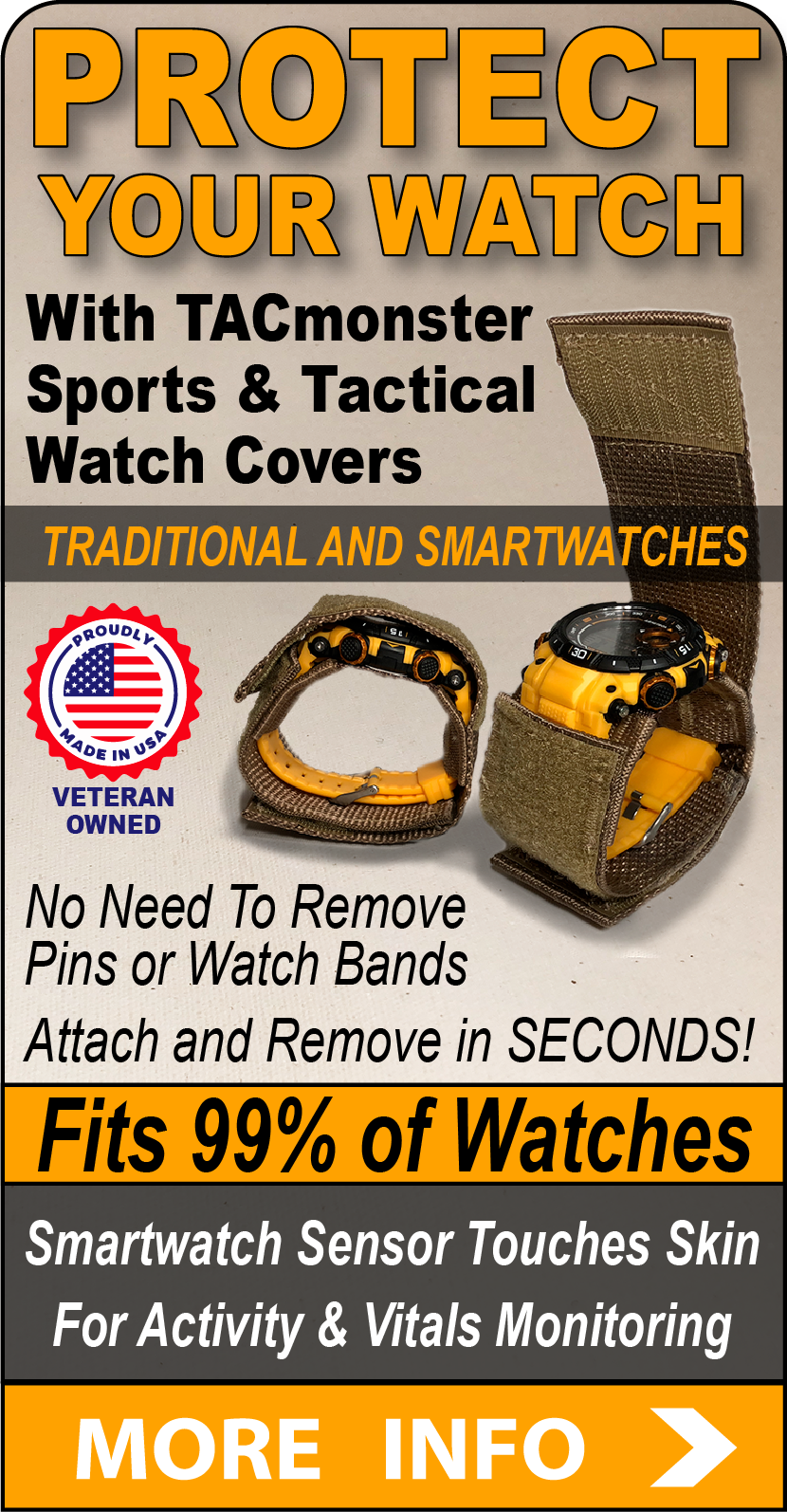 TACmonster tactical sports watch band covers watch protectors